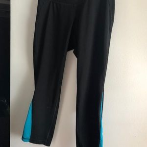 Teal/blue and black active leggings